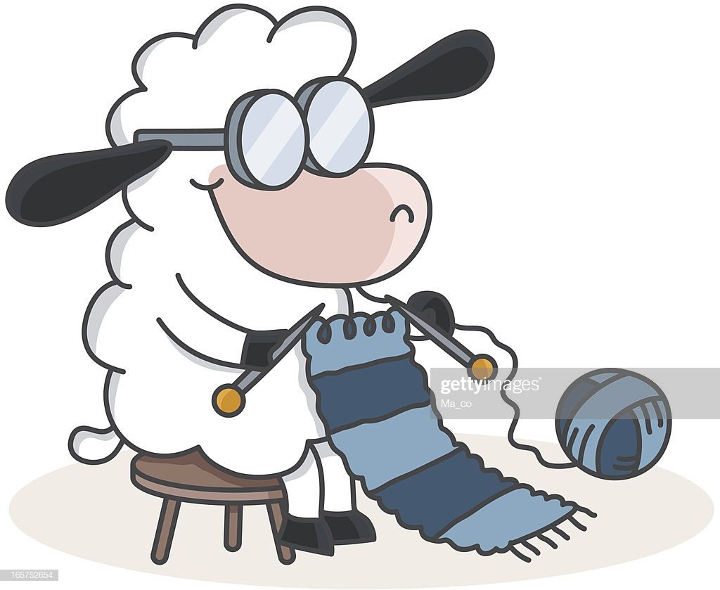 Knitting sheep cartoon