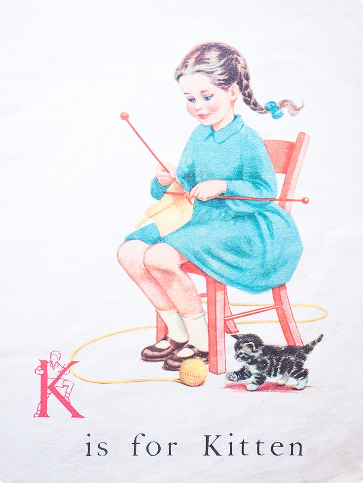 knitting girl cartoon