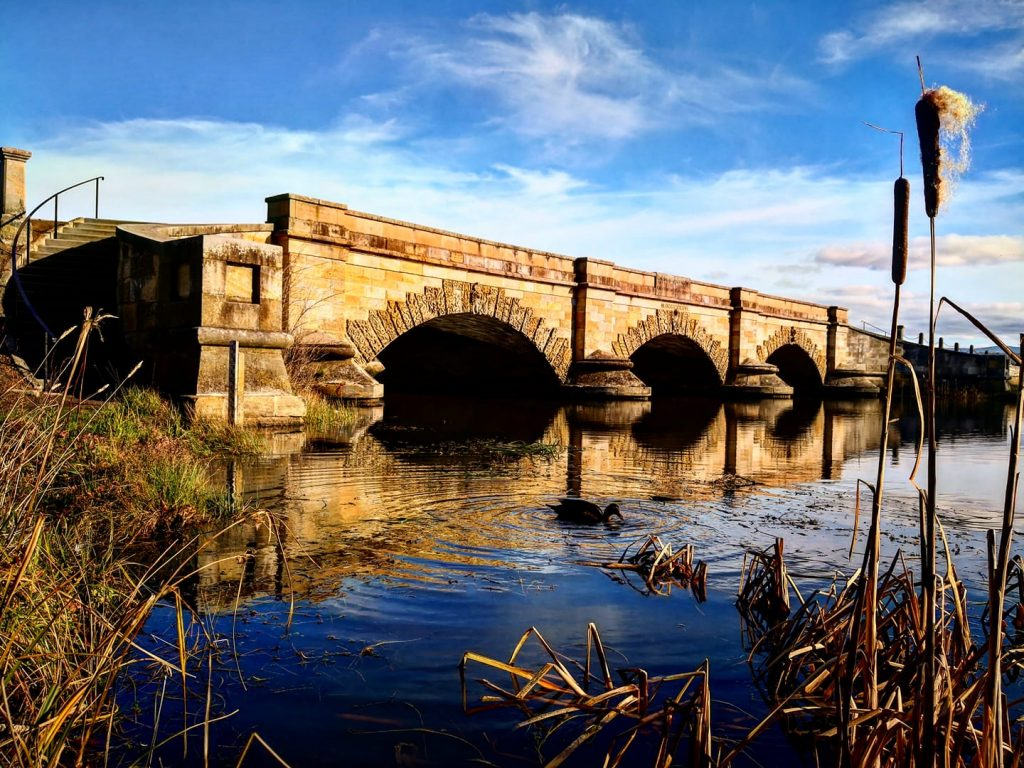 The stunning Historic Ross Bridge over the Macquarie River, at Ross,