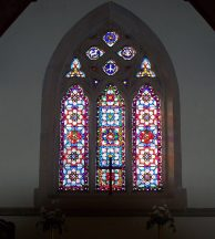 Stained glass window interior of St Johns Church of England, Ross Tasmania. Image by G Keri