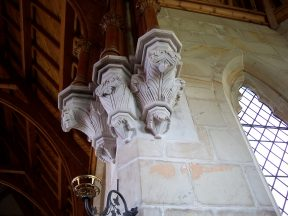 Sculptures on the columns on the interior of the Uniting Church, Ross, Tasmania. Image by G Keri