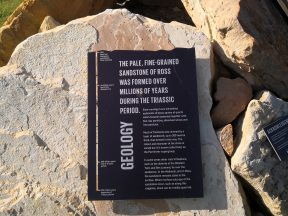 Interpretation panel at the entrance to the historic ross quarry telling the story of the geology of the site