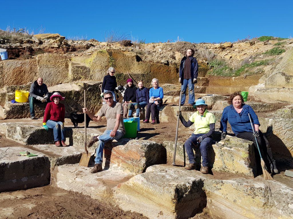 Working Bee group at the historic ross quarry