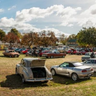 Vintage and classic cars gathered on a field at the Picnic at Ross event