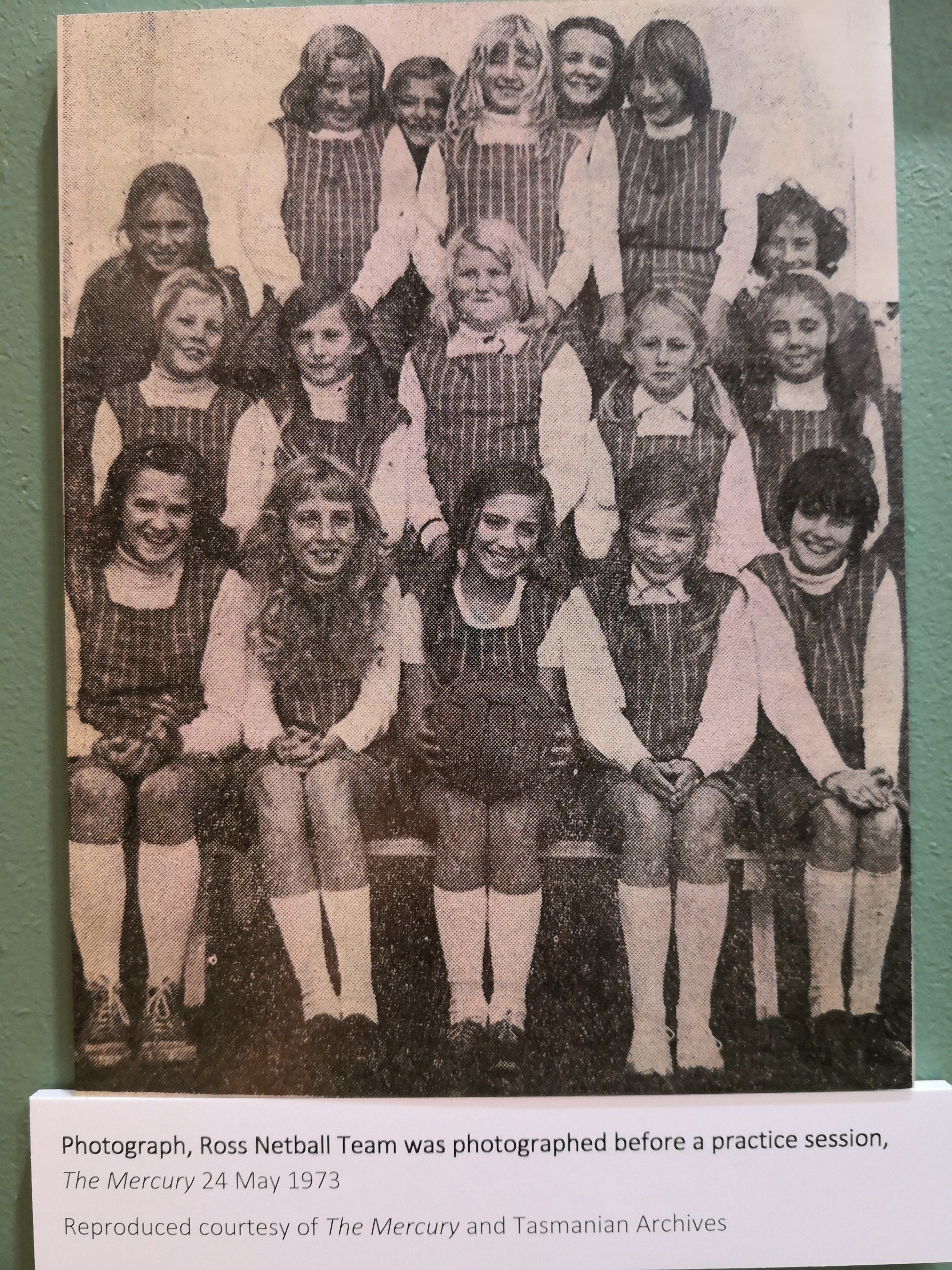 a 1973 school photo, one of the artifacts in the museum at the Tasmanian Wool Centre, Ross